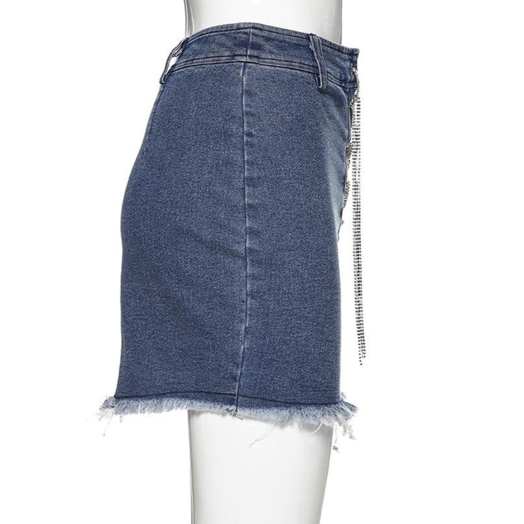Chain Lace Up Denim Skirt - Own Saviour