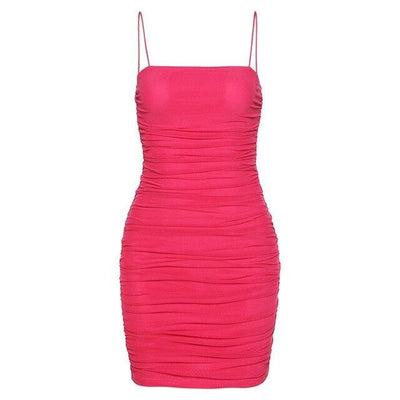 Pink Ruched Mini Dress - Own Saviour - Free worldwide shipping