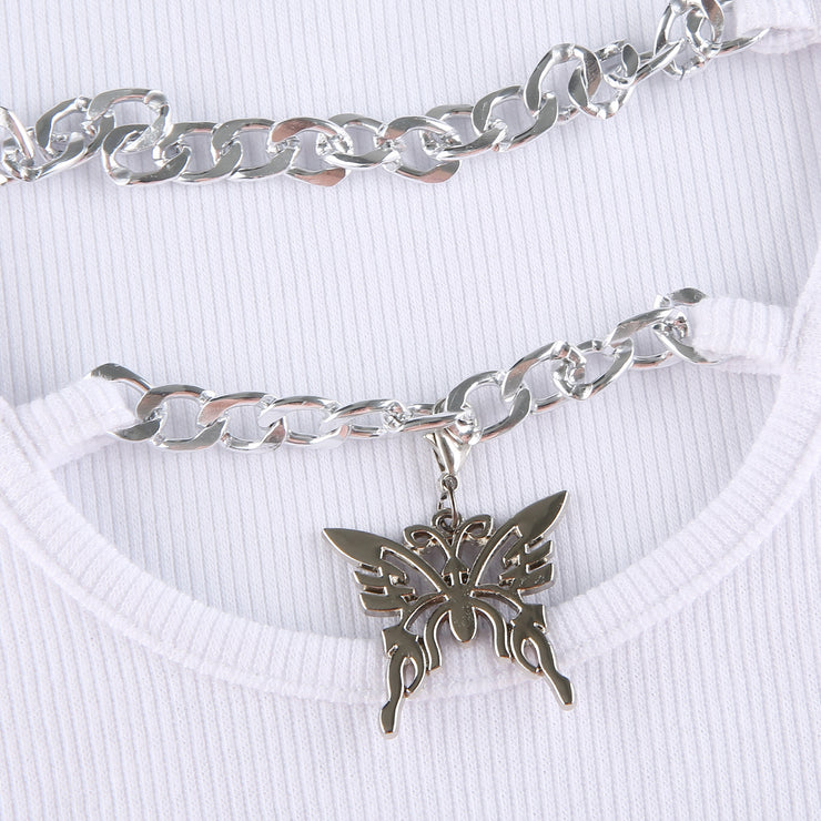 L/S Butterfly Chain Crop - Own Saviour - Free worldwide shipping