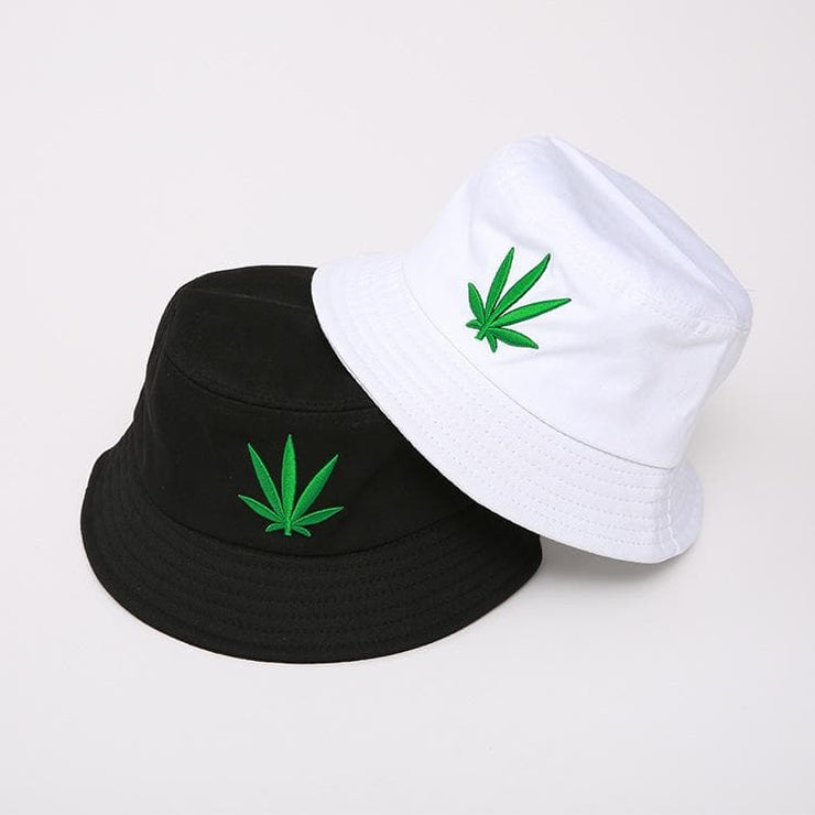 Leaf Embroidery Bucket Hat