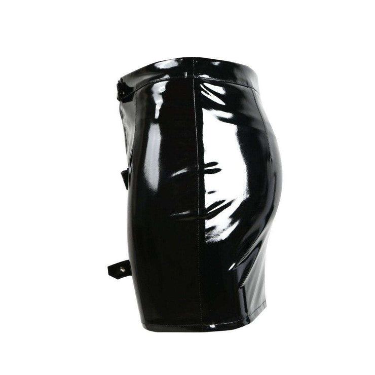 Wet Look PVC Buckle Mini Skirt - Own Saviour - Free worldwide shipping