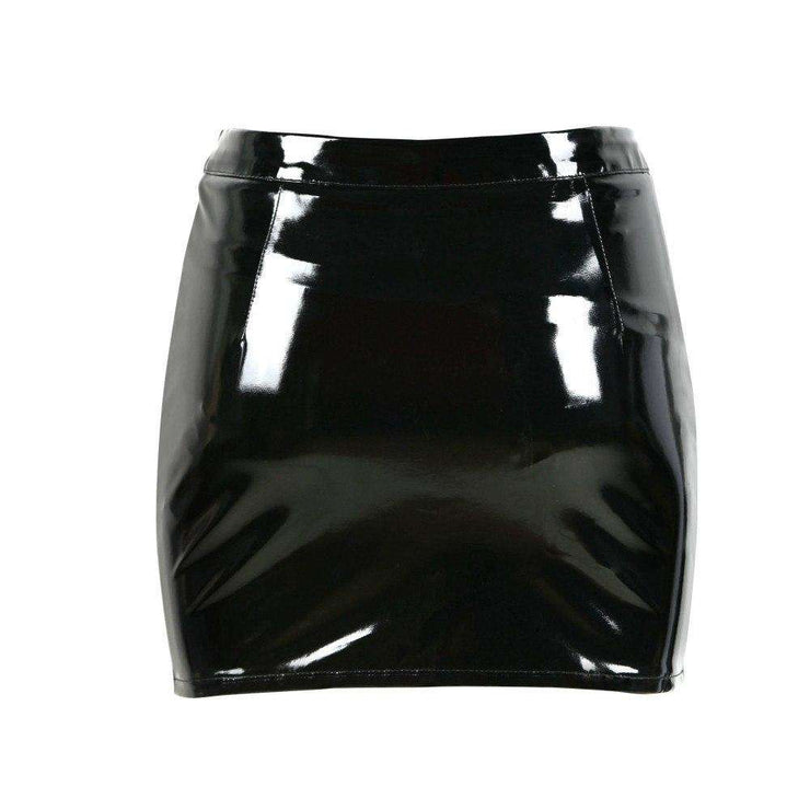 Wet Look PVC Buckle Mini Skirt - Own Saviour