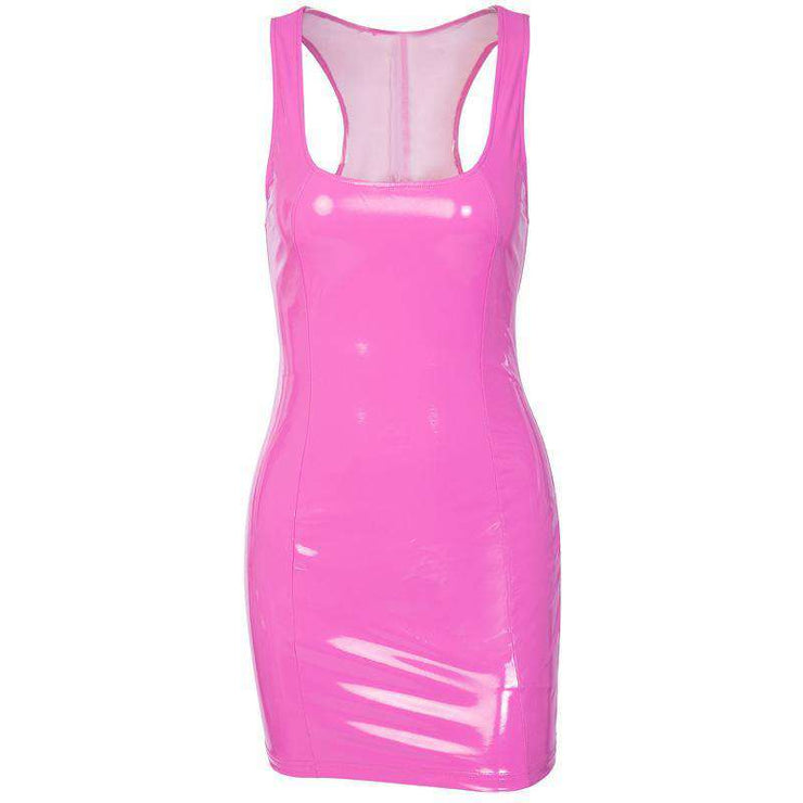 Pink Patent Faux Leather Dress
