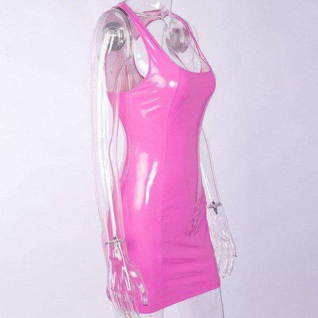 Pink Patent Faux Leather Dress - Own Saviour - Free worldwide shipping