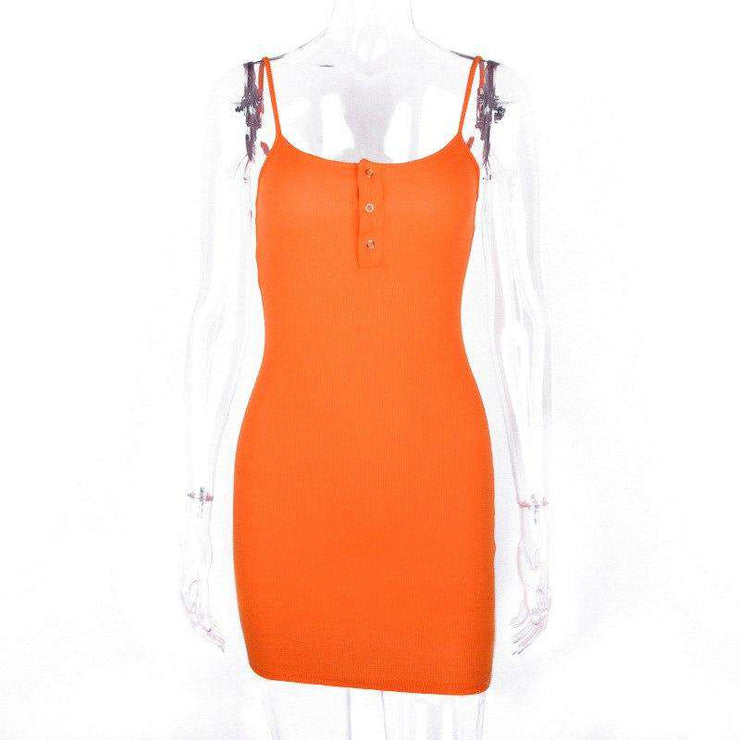 Neon Orange Popper Dress - Own Saviour - Free worldwide shipping