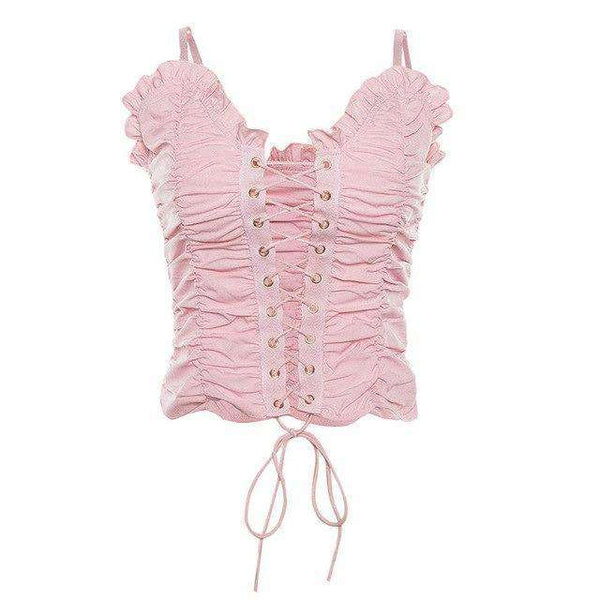 Pink Ruched Lace Up Crop