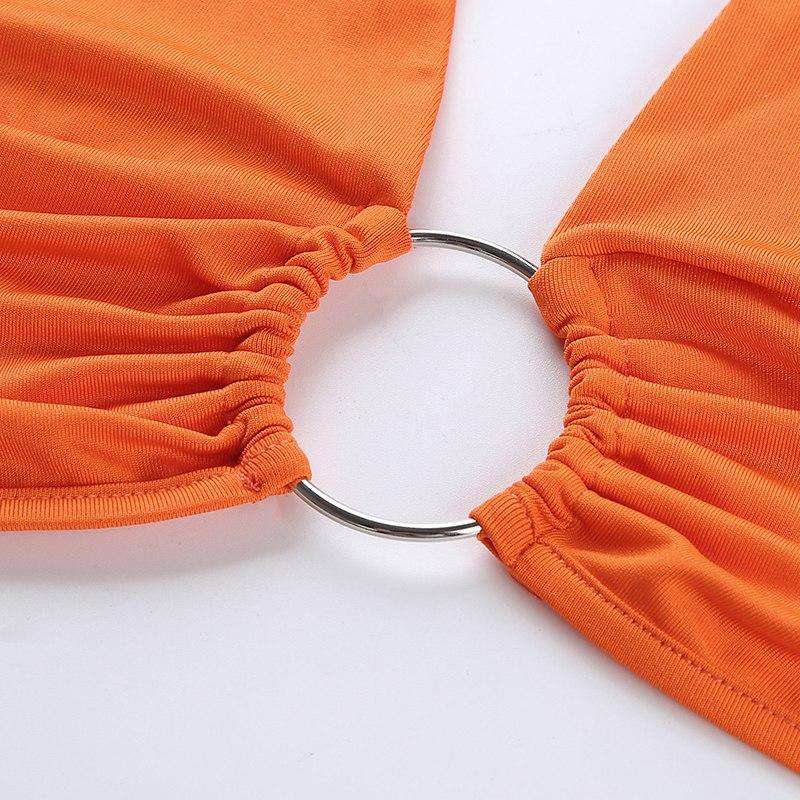 Orange Ring Halter Crop