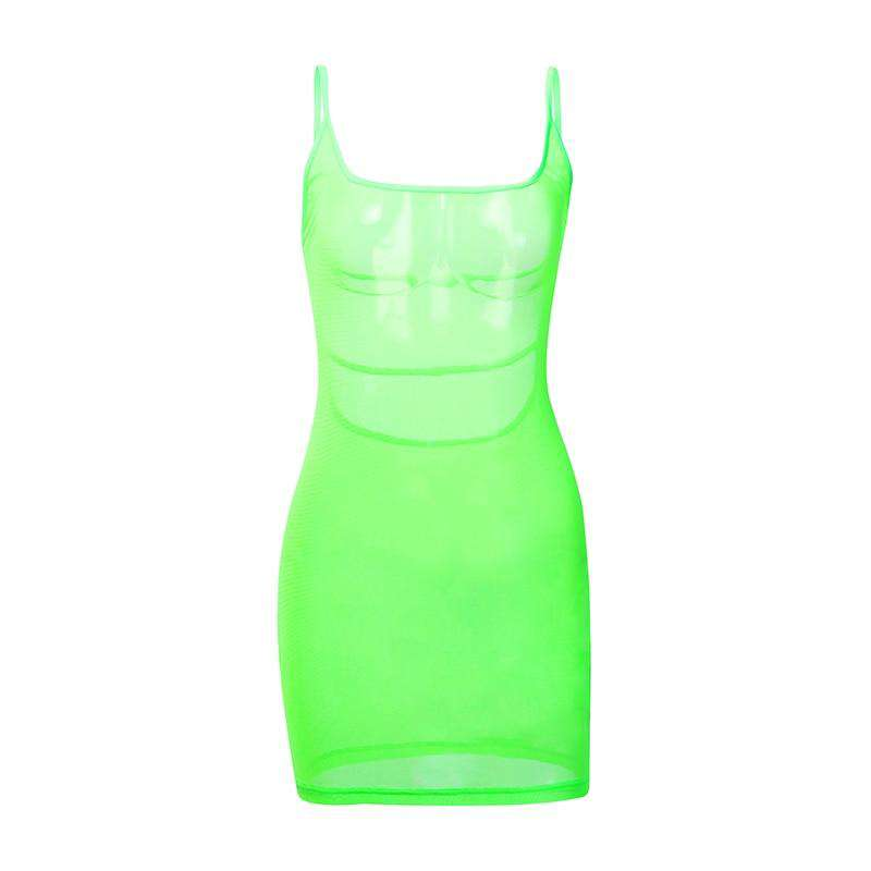 Neon Sheer Backless Dress