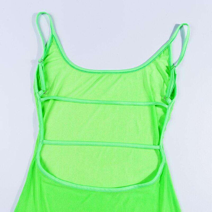 Neon Sheer Backless Dress - Own Saviour - Free worldwide shipping