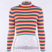 Rainbow Turtleneck Sweater-Own Saviour