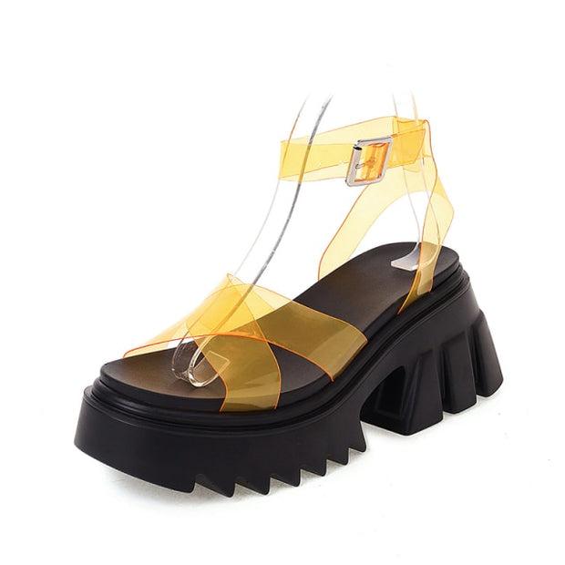 PVC Strap Platform Sandals - Own Saviour