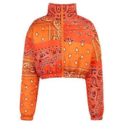 Orange Paisley Bandana Puffer Jacket - Own Saviour