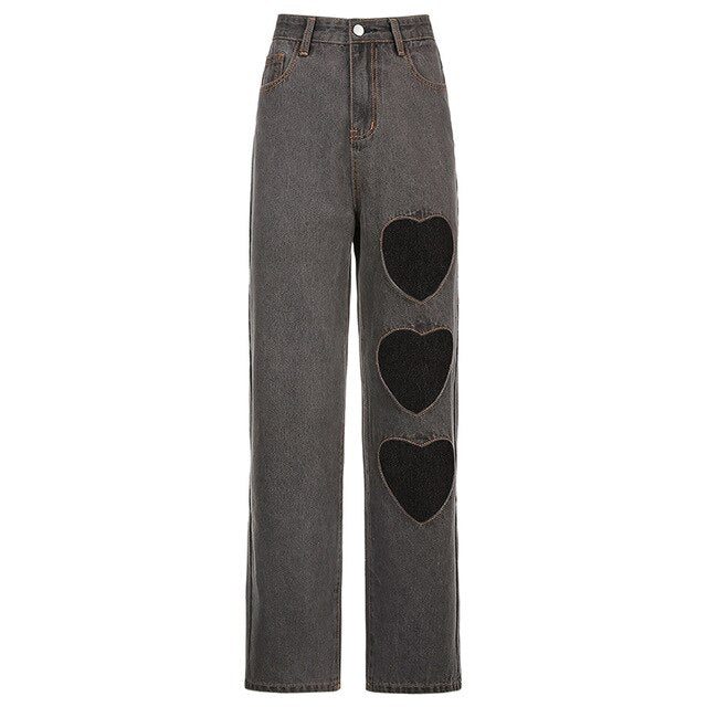 Grey Heart Cut Out Jeans - Own Saviour
