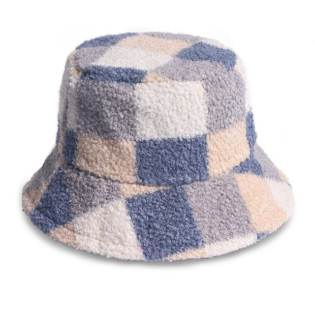 Faux Fur Check Bucket Hat - Own Saviour - Free worldwide shipping