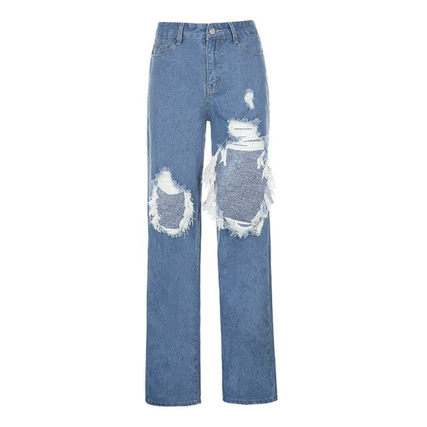 Large Hole Distress Jeans - Own Saviour - Free worldwide shipping