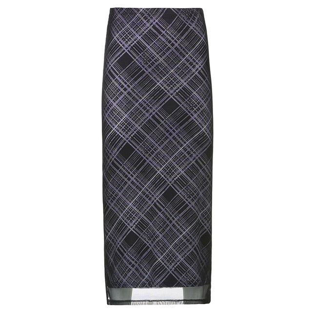 Plaid Y2K Maxi Skirt - Own Saviour