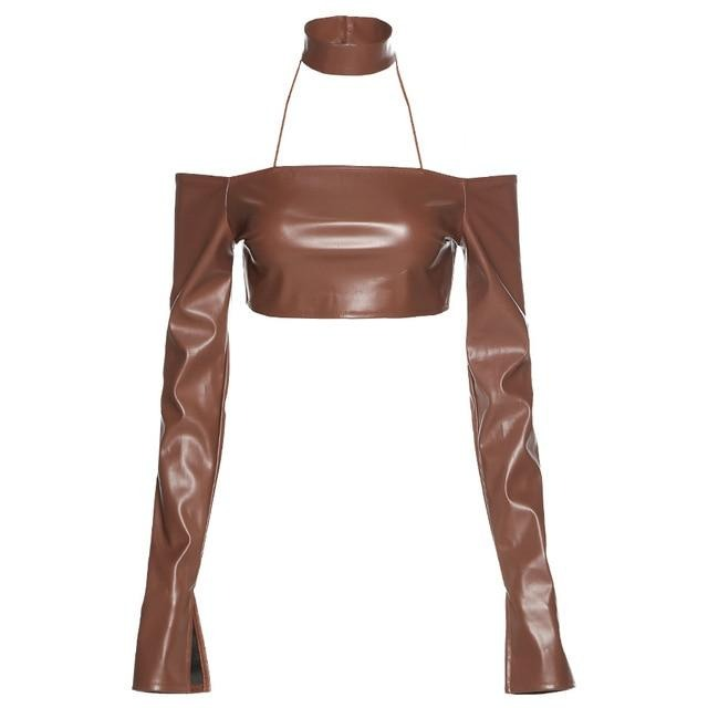 Brown Faux Leather Crop - Own Saviour - Free worldwide shipping