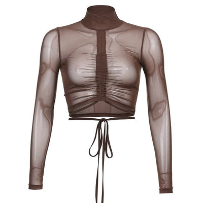 Sheer Turtleneck Ruched Crop - Own Saviour