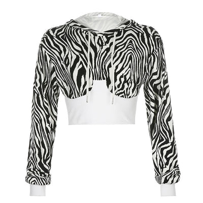 Zebra Crop Hoodie - Own Saviour - Free worldwide shipping