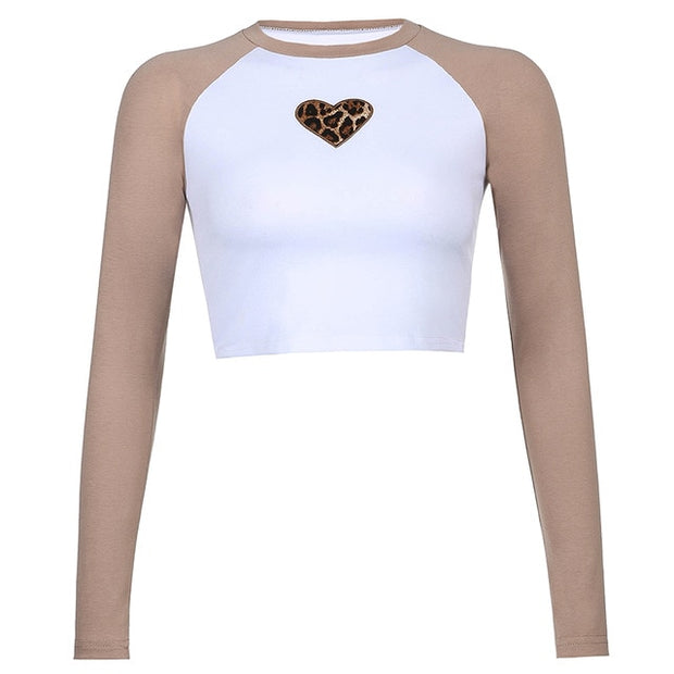 BWN Leopard Heart Raglan Crop - Own Saviour - Free worldwide shipping