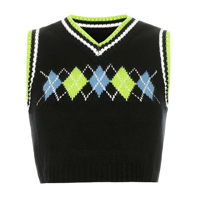 Diamond Plaid Tank Jumper - Own Saviour - Free worldwide shipping