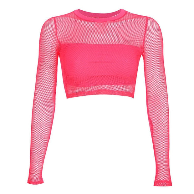 Neon Block Mesh Crop - Own Saviour - Free worldwide shipping