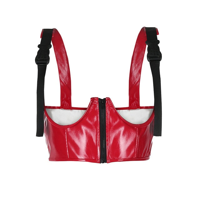 Moto Faux Leather Bust Crop - Own Saviour
