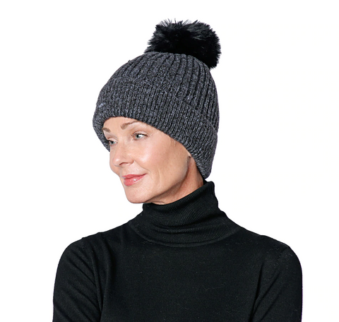 WS Heathered Pom Pom Hat