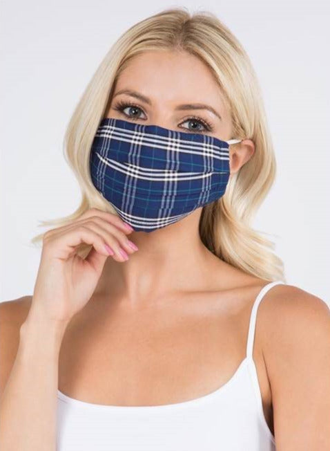 Pleated Plaid Mask - 2 Filters Included