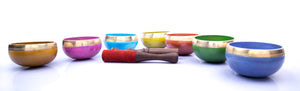 Load image into Gallery viewer, Chakra Singing Bowls ~ Chakra Colors and Symbols Set of 7