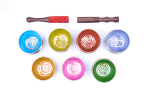 Chakra Singing Bowls ~ Chakra Colors and Symbols Set of 7
