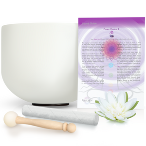 "8"" - 10"" B Crown Chakra ~ Quartz Crystal Singing Bowl w/ Rubber O-Ring & 2 Mallets"