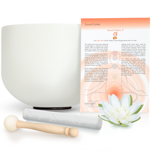 "8"" - 10"" Quartz Crystal Singing Bowl Set ~ D Sacral Chakra ~ VERY Easy to Play ~ Creates Beautiful sounds for Peace, Chakra Healing, and Mindfulness ~ with Rubber O-Ring & Mallet ~  Perfect Gift"