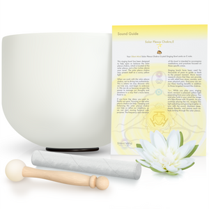 "8"" - 10"" E Solar Plexus Chakra ~ Quartz Crystal Singing Bowl w/ Rubber O-Ring & 2 Mallets"