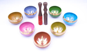Load image into Gallery viewer, Chakra Singing Bowls ~ Chakra Colors in Lotus Design Set of 7