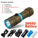 powerful scuba diving flashlight xml l2 archon Hunting Underwater Light rechargeable torch led cree xm-l2 18650 OR 26650 battery