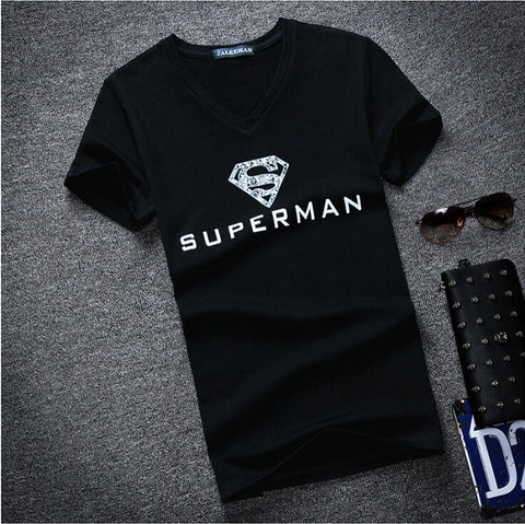 2016 New Men Superman T Shirts Short Sleeve Male V Neck t-shirt Superhero Unique Boy Top Pattern Tee Shirts Plus Size S-5XL