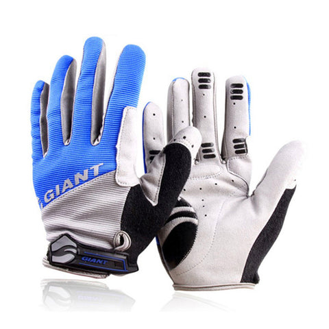 GIANT Windstopper Full Finger Men Women Cycling Gloves Screen Bike Bicycle Sport Shockproof Outdoor Sports Blue Red XL