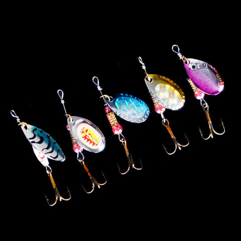 hot sale 5pcs Spinner Fishing Lures Fishing spinner Tackle paillette spoon Lures Mix Color/size Free shipping