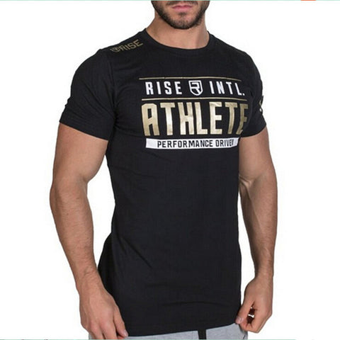RISE Brand mens clothing Fashion Fitness t Shirt Crossfit Bodybuilding Muscle male Short sleeve Slim fit Cotton Tee tops apparel
