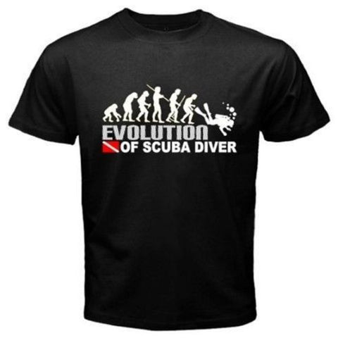 Evolution Of Scuba Diver Dive Down Flag Dive Funny Black T-Shirt Mens 2015 New Designs Summer Style T Shirt Top Tees