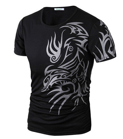 2015 New Tops Fashion Brand 10 style T Shirts for Men Novelty Dragon Printing Tattoo Male O-Neck T Shirts M-XXXL