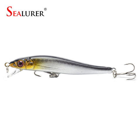 Sealurer Brand New Minnow Fishing Lures 8CM 5.7G 8# Hooks Fish Minnow Lure Tackle Hard Bait Pesca Wobbler Artificial Swim bait