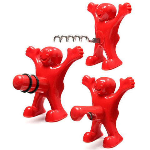 Jokes Kitchen Bar Red Fun Happy Man Wine Beer  Red wine Soda Bottle Novelty Opener Stopper