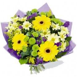 purple and yellow mothers day bouquet from oasis florists terenure Dublin
