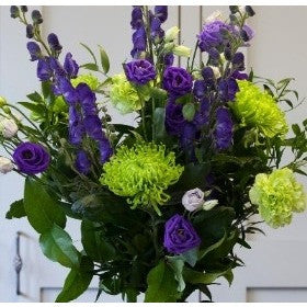 purple & lime green bouquet with delphinium, lisianthus