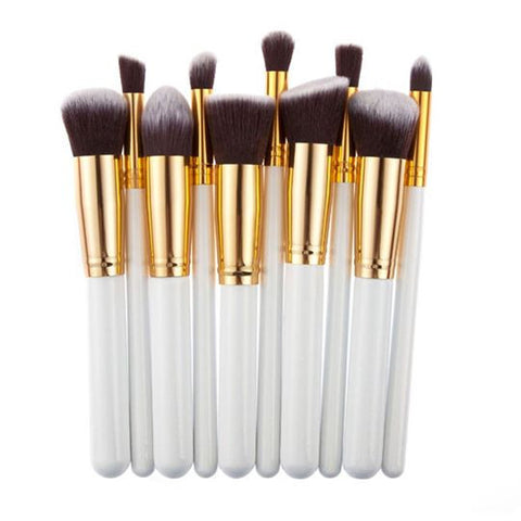 10PCS wHITE and Golden Professional Makeup Brushes