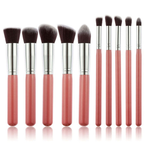 10PCS wHITE and Pink Professional Makeup Brushes