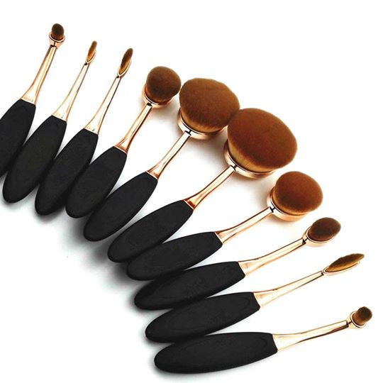 Beautiful Rose Gold Pro Oval Brush Set