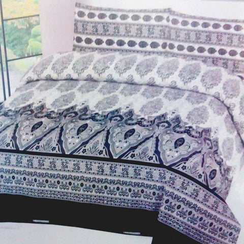 Black And White Floral Cotton Bedsheet